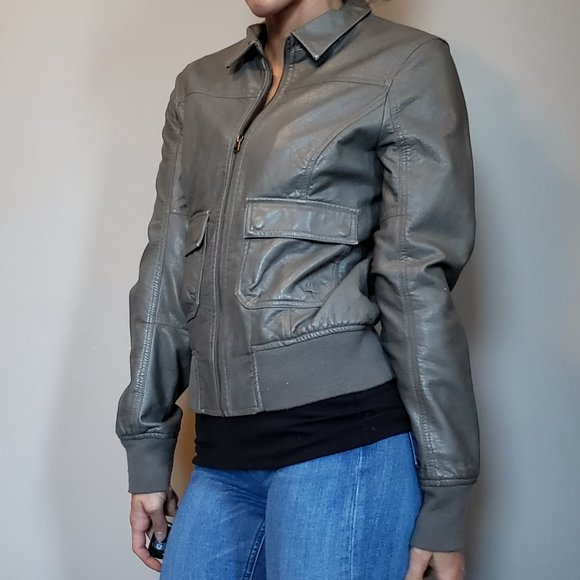 Nixon Gray Faux Leather Jacket Small
